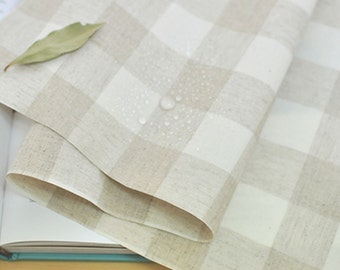 Laminated Linen Fabric 3 cm Plaid By The Yard