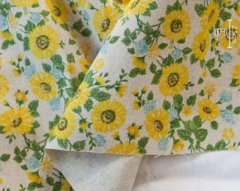 Cotton Linen Fabric Daisy Beige By The Yard