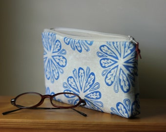 Pencil Pouch • Hand Stamped Zip Pouch • Clutch • Cosmetic Case •