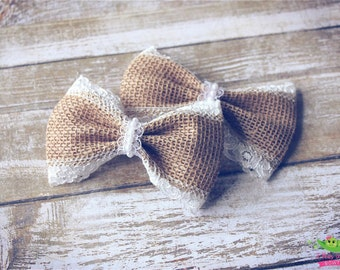 """Burlap Lace Hair Bows, Vintage Inspired, Baby Girls Hair Bows, Toddler Hair Bows, Hair Clips, 4"""" Hair Bows, Pigtail Hair Bows, Lace Bows"""