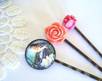 Pretty Bird Hair Slides, Little Rose Hair Pin, Pink Floral Accessories, Antiqued Hair Pins, Hair Pins Set