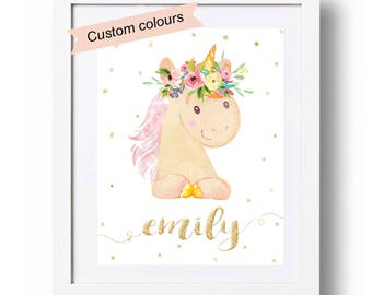 Unicorn Print Pink and Gold Floral Unicorn Printable Nursery wall art Watercolor Personalized Unicorn Name Gift for lillte girl 8x10 16x20 +