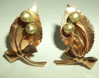 Retro Copper  Leaf Bow Pearl Screwback earrings