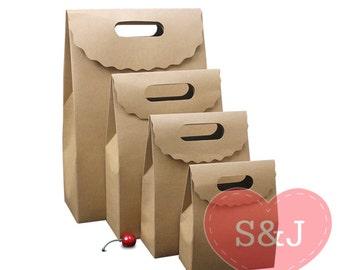 40pcs Kraft paper handle lolly party boxes/bag - multiple size