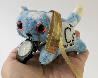 Elemental Cats: Caesium - OOAK handmade periodic table science art doll soft toy