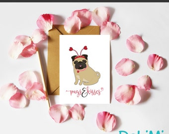 Valentine's Card - Anniversary - Romantic - Just Because - Greeting Card - Pugs and Kisses!
