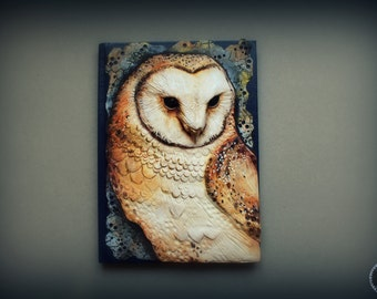 Barn owl notebook cover journal cover realistic barn owl