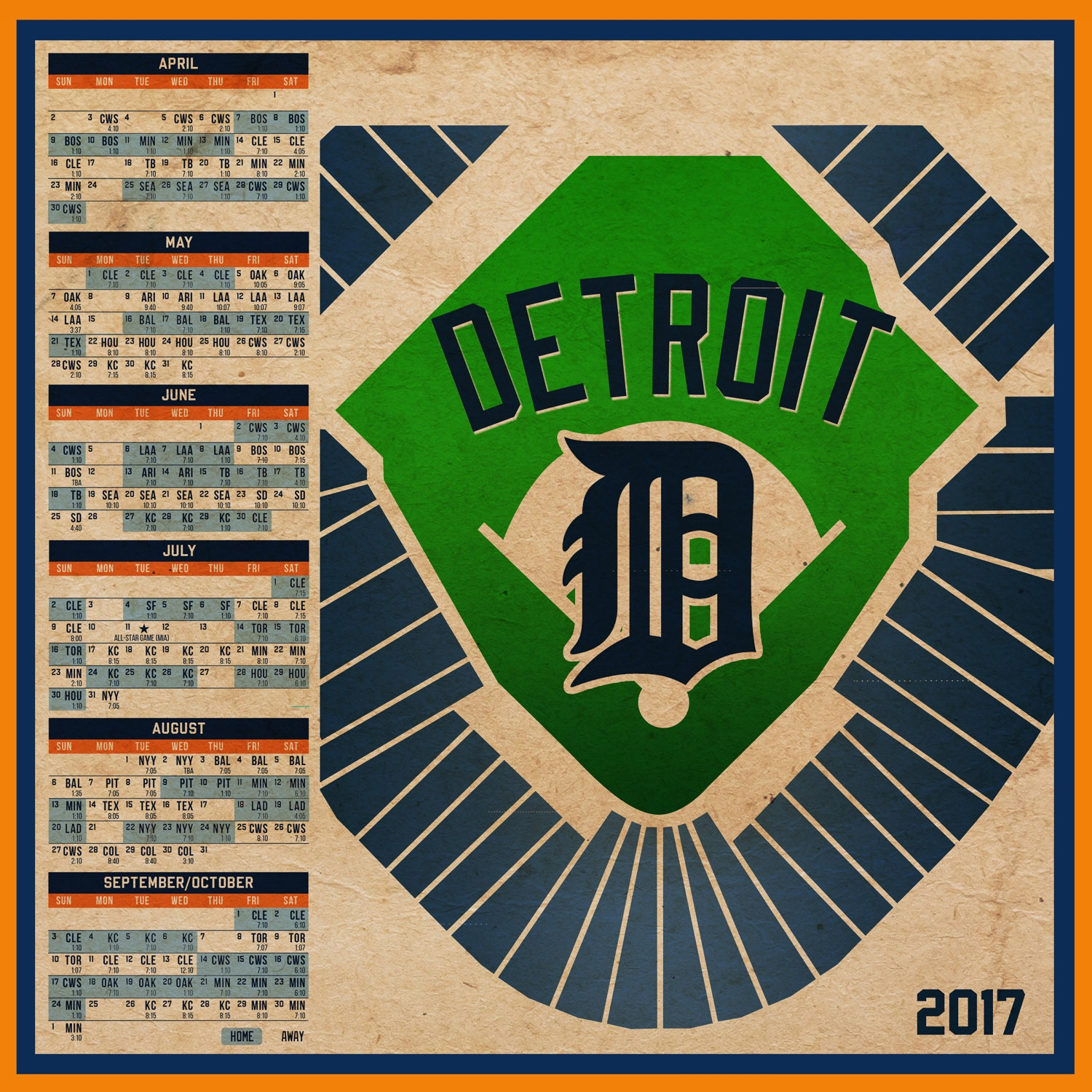 This is an image of Punchy Printable Detroit Tigers Schedule