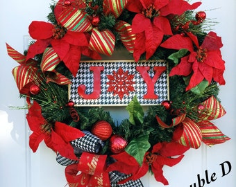 Christmas Joy wreath, Merry Christmas, Christmas door decor, christmas door, holiday decor, Joy Decor, Evergreen Christmas, Traditional Xmas
