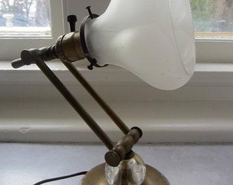 Antique Copper And Glass Desk Lamp  Vintage Lamp  Desk Lamp  Office Lamp  Adjustable Lamp  Antique Decor  Vintage Decor
