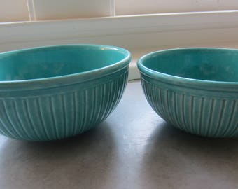 Set Of Two Vintage Ribbed Teal Pottery Red Wing Bowls/Antique Pottery/Vintage Bowls/Vintage Mixing Bowl/Kitchen Decor/Farmhouse Decor