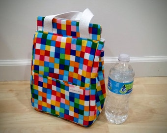 Rainbow Pixel Insulated Lunch Bag, Insulated Bag, Waterproof Bag