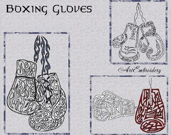 "Boxing Gloves - Machine Embroidery Design Set of three designs in two sizes for hoop 4x4"" and 5x7"""