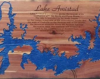 CUSTOM LAKE MAP laser engraved on wood