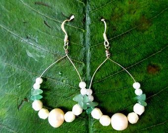 AINA Pearl earrings.  Pearl  and Jade earrings. Loop with pearl earrings