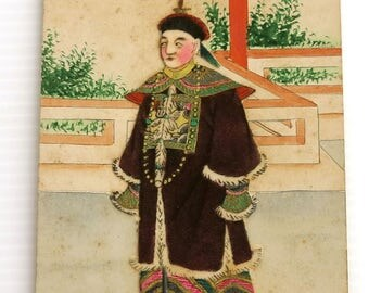 Vintage hand painted Chinese collage postcard of wealthy man in elaborate costume, pencil, paints, gilt, postcard never used