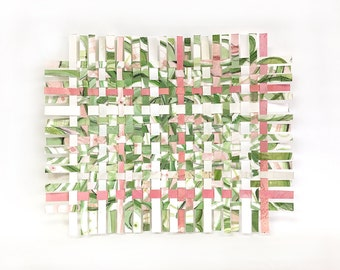 Greenery Paper Weaving- Mixed Media- Watercolor- Abstract Art- Woven Paper-  Pantone 2017- Green, Pink, White- 7x8.5