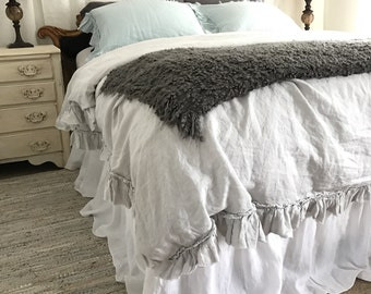 Linen Duvet Cover Frayed Ruffle Bedding Girls Room Romantic Bedspread Ruffled Bedding Luxury Bedding Light Grey Belgian Linen