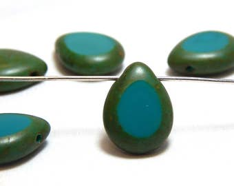6 Turquoise Teardrop Beads, Turquoise Briolette Beads, Turquoise Drop Beads, Turquoise Glass Beads, Pendant bead, Teardrop Beads, T-52A