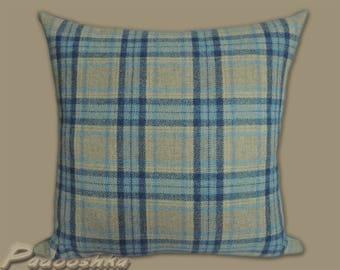 Blue plaid pillow cover Scottish plaid Tartan tweed pillow cover Tweed cushion cover Throw pillow cover Barony Denim fabric from Moon Wool