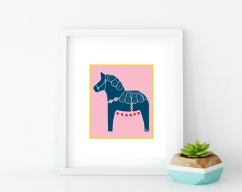 Pink Dala Horse Art Print, Instant Digital Download