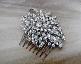 Silver Crystal Bridal Art Deco Hair Comb, Downton Abbey, Great Gatsby, Vintage Inspired Hairpiece, Bridal Hair Accessory, Crystal Headpiece