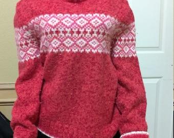 Scandinavian Sweater Icelandic Wool Sweater -Icewool - Iceland Arctic Sheep - Knit Nordic Scandinavian Candy Red Sweater S/M