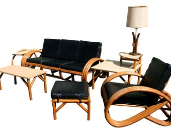 Pretzel Patio Outdoor Furniture Set, in Style of Paul Frankle, Mid Century Modern