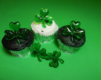 12 Glittering Shamrock St. Patrick's Day Sparkling Rings Toppers Party Favors Cake Decorations