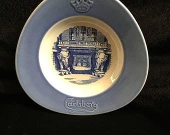 Vintage Carlsberg Denmark Dish - Blue and White Porcelain - Wall Decor