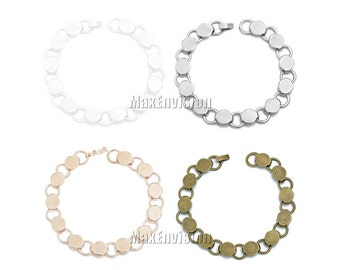 10mm Round Glue Pad Disc Chunky Bracelet Blanks Forms fit 10mm Round stickers twelve 10mm Round Glueable Pads  5 PCS M192