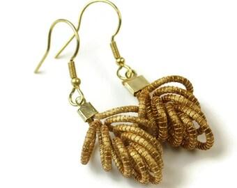 Golden Grass Wire Work earrings, Eco Friendly, Organic Earrings, Grape Earrings, Grape wine jewelry, fruit earrings