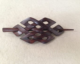 Hand Carved Wooden CELTIC Weave Hair Pin Barrette Slide Clip Clasp Stick Sono wood/Rose Wood.Wood Barrette.Organic Natural Wooden Art