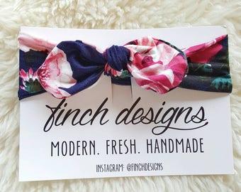 Knotted Headband, Adjustable Turban Headband, Navy Floral Headband, Stretchy Headband, Girls Headband