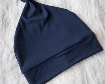SALE! Navy Bamboo Knot Beanie / Navy Baby Beanie