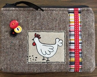 Handmade tTweed fabric  Chicken Bird Cosmetic Make up bag Pouch