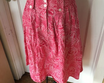 Vintage Bright Pink Midi Skirt. 1980's Midi Length Skirt. Pink and White . Abstract Geometric Pattern. Summer Skirt. Size Small. All Cotton.