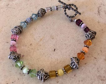 Sterling with Gorgeous Colorful Faceted Crystals Bracelet.