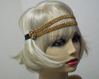 Topaz 1920s headband, Gatsby headpiece, Flapper headpiece, Vintage inspired, Rhinestone headband, 1920s accessory, Roaring 20s dress