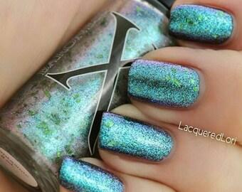 Phantasmic - Glass Flakie Polish - Multichrome Flakies - Shifting Glass Fleck Nail Polish - Teal to Purple Shifting Flakes