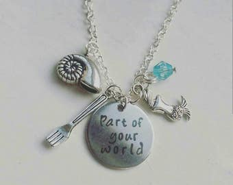 Disney Inspired Ariel The Little Mermaid 'Part of your World' Necklace