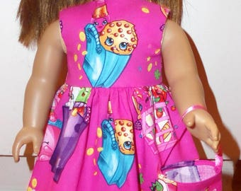 """New Handmade Pink Shopkins Dress with Headband and Purse Fits 18"""" American Girl Dolls"""