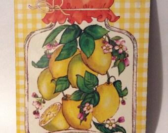 """Vintage Lemon Plaid 1970's """"Hot Plaque"""" Trivet"""
