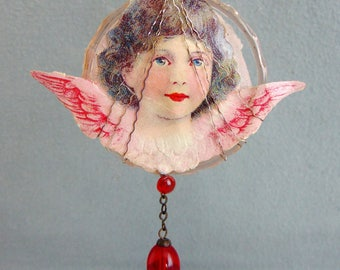 Antique German Glass Christmas Tree Ornament Pendant With Lithograph Angel 1920s