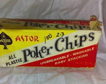 Astor Plastic Poker Chips, Red, White And Blue Chips, Retro Set