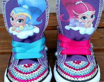 Purple Genie Converse Shoes, Shimmer and Shine Converse, Shimmer and Shine Shoes, Bling Converse