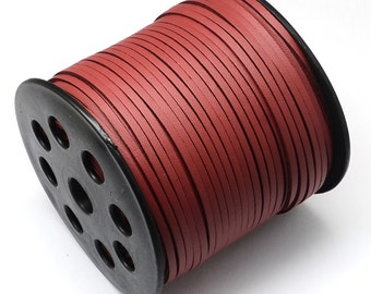 15ft Red Faux Suede Cord Leather Like 3mm( No.620)