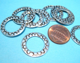 10pcs Antique Silver Circle Round Links 21x1mm