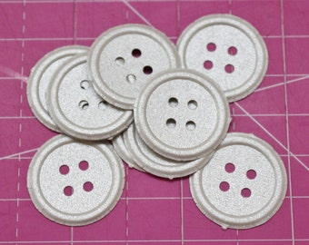 10 Paper Buttons Pack - Silver