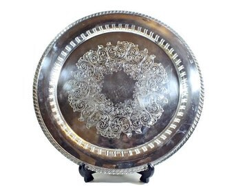 "Round Silverplate Reticulated Tray - 14-1/2"" Diameter - Wm A Rogers - Chased Interior - Gadroom Border - Vintage -"